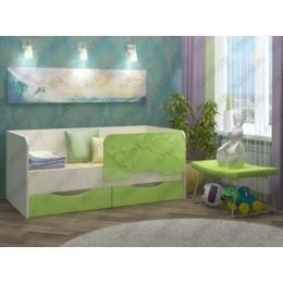 Детская кровать  Дельфин-2 1,6 зеленый